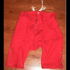 Breeches 18th Century Style Linen - Fly Front Red 10% OFF