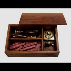 Seal Kit in Teak Box with Wax and Candle Holder